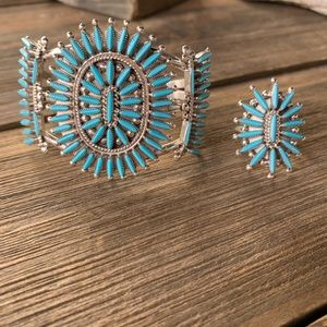 Jewelry - Zuni Needle Point Turquoise Bracelet Set